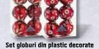 Set globuri din plastic decorate