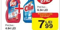 Detergent de vase Pur + Solutie de curatat geamuri Clin