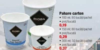 Pahare carton Rioba