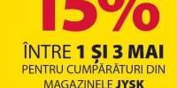 Reducere 15% la JYSK