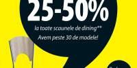 Reducere intre 25-50% la toate scaunele de dining!