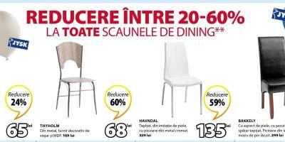 Reducere intre 20-60% la toate scaunele de dining
