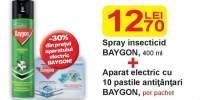Spray insecticid Baygon 400 ml + Aparat electric cu 10 pastile antitantari Baygon