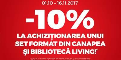 10% la achizitionarea unui set format din canapea si biblioteca living!