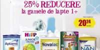 Profita de oferta 25% reducere la gamele de lapte 1+