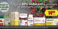 Pana la 30% reducere la produsele de prevenire a infectiilor urinare
