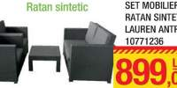 Set mobilier ratan sintetic Lauren Antracit
