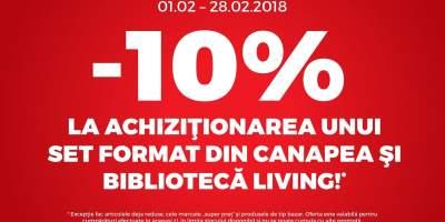 10% la achizitionare unui set format din canapea si biblioteca living!