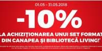 10% reducere la achizitia unui set format din canapea si biblioteca living