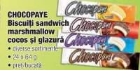 Chocopaye biscuiti sandwich marshmallow cocos si glazura