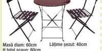 Set masa + 2 scaune otel Vio Bistro
