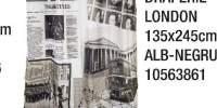 Draperie London 135x245 cm alb-negru