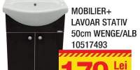 Mobilier + lavoar stativ 50 centimetri Wenge/alb