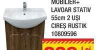 Mobilier + lavoar stativ 55 centimetri 2 usi cires rustik