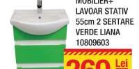 Mobilier + lavoar stativ 55 centimetri 2 sertare verde Liana