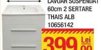 Mobilier + lavoar suspendat 60 centimetri 2 sertare Thais alb