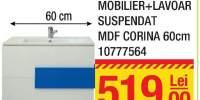 Mobilier + lavoar suspendat MDF Corina 60 centimetri