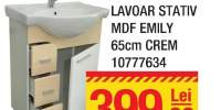 Mobilier + lavoar stativ MDF Emily 65 centimetri Crem