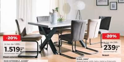 Mobila dining: masa Alvaro si scaun metalic Sara