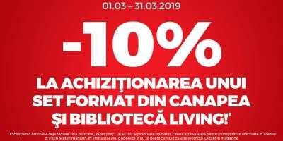 10% reducere la achizitionarea unui set format din canapea si biblioteca living