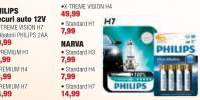 Philips becuri auto 12V X-Treme Vision H7 + 4 baterii Philips 2AA