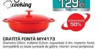 Cratita MYRIA MY4173, 4l, 28cm, fonta, rosu