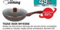 Tigaie Wok MYRIA MY4088 cu capac din sticla, 28cm, aluminiu, maro