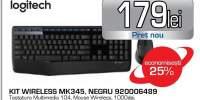 Kit tastatura si mouse fara fir LOGITECH MK345, negru