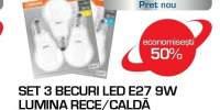 Set 3 becuri LED OSRAM 4052899972476, E27, 9W, lumina calda/ rece