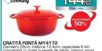 Cratita fonta MYRIA MY4172, 6l, 28cm, fonta, rosu