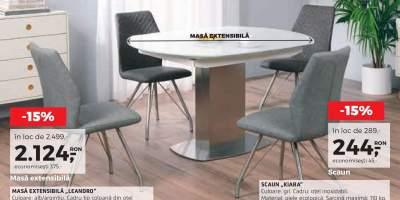 Masa extensibila Leandro si scaune Kiara