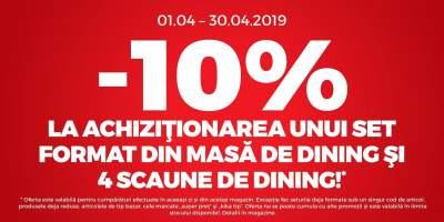 10% reducere la achizitionarea unui set format din masa de dining si patru scaune