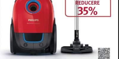 Aspirator cu sac PHILIPS Performer Compact FC8373/09, 3 l, rosu - albastru