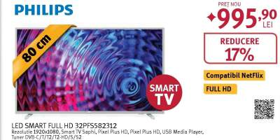 Televizor LED Smart Full HD, 80 cm, PHILIPS 32PFS5823/12