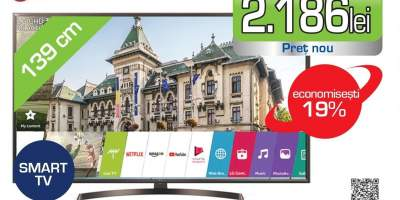 Televizor LED Smart Ultra HD 4K, HDR, 139 cm, LG 55UK6400PLF