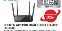 Router Wireless D-LINK AC1200 DIR-842, Dual-Band 300 + 867 Mbps, WAN, LAN, negru