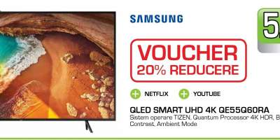 Televizor QLED Smart Ultra HD, 4K HDR, 139cm, SAMSUNG 55Q60RA