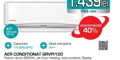 Aer conditionat GRUNDIG GRVPI120/121, 12.000BTU/h, A++/A+, kit instalare inclus, alb
