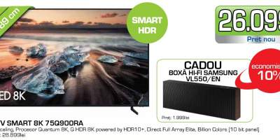 Televizor QLED Smart 8K, HDR, 189 cm, SAMSUNG 75Q900RA