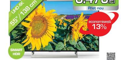 Televizor LED Smart Ultra HD 4K, HDR, 139 cm, SONY BRAVIA KD-55XF8096