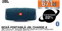 Boxa portabila JBL Charge 4 JBLCHARGE4BLU, Bluetooth, Waterproof, Powerbank, Bass Radiator, albastru