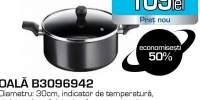 Oala cu capac TEFAL Invissia B3096942, 30cm, aluminiu, negru
