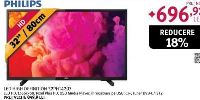 Televizor LED HD, 80 cm, PHILIPS 32PHT4203/12
