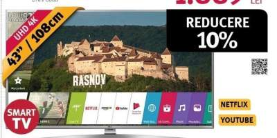 Televizor LED Smart Ultra HD 4K, HDR, 108 cm, LG 43UK6950PLB
