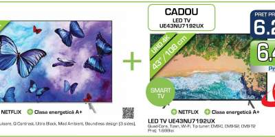 Televizor LED Smart Ultra HD 4K, HDR, 108 cm, SAMSUNG 43NU7192 + QLED TV V