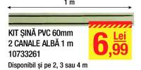 Kit sina PVC 60 mm 2 canale alba 1 metru