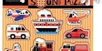 Sound Puzzle Vehicles Puzzle din lemn cu sunete