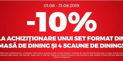 10% reducere la setul format din masa de dining si patru scaune