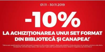 10% reducerea la achizitionarea unui set format din canapea si biblioteca