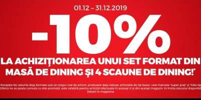 10% reducere la achitionarea unui set format din masa si scaune de dining